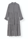 Ganni - Dress - Printed Crepe Maxi Dress F3390 - Black Checks