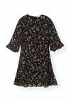 Ganni - Dress - Printed Georgette Mini Dress F3178 - Black