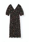 Ganni - Dress - Printed Georgette V-Neck F3177 - Black