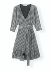 Ganni - Dress - Printed Mesh Wrap Dress Mini F2365 - Black