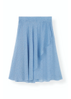 Ganni - Skirt - Printed Georgette Skirt - Forever Blue