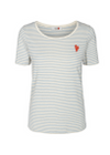 Mos Mosh - T-shirt - Kenia Glam Stripe V-neck - Sky Blue