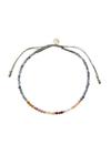 Stine A - Bracelet - Berry Rainbow Mix Bracelet - Grey Jade and Khakigrey Ribbon