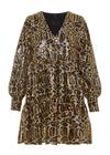 Y.A.S - Dress - YASMimi LS Dress - Black/Gold Leopard