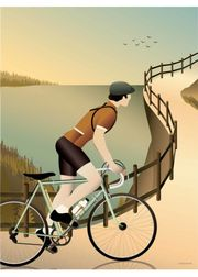 Cycling in the hills - poster