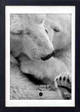 LOVE A FOX - Poster - Baby Polar Bear Grey - Grey