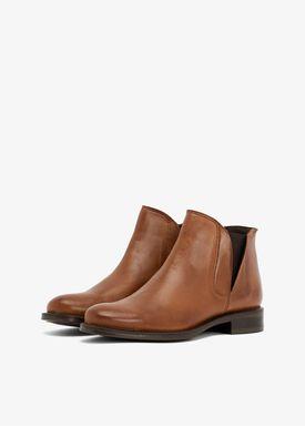 Bianco - Stövlar - V-Split Leather Boots - Cognac
