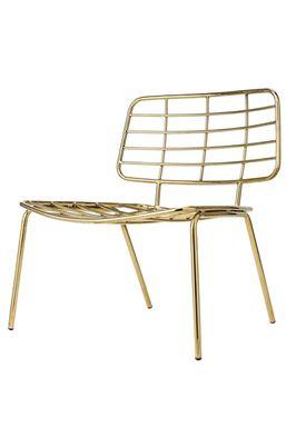 Bloomingville - Chair - Mesh Lounge Stol - Gold Metal
