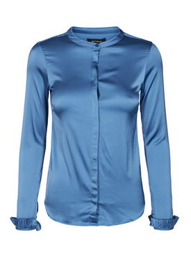 - Bluse - Mattie Satin Shirt - Federal Blue