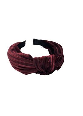 Bow's By Stær - Hair Band - By Stær Headband - Velvet Stripe Burgundy