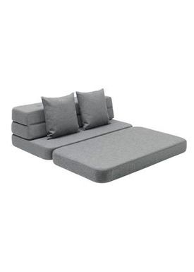 By KlipKlap - Couch - KK 3 fold sofa w. buttons - Blue grey w grey buttons