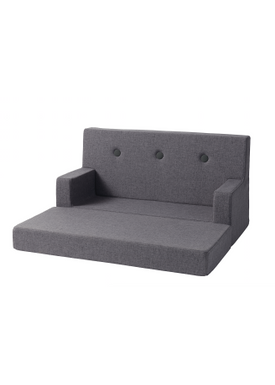 By KlipKlap - Couch - KK Kids Sofa - Blue grey w grey buttons