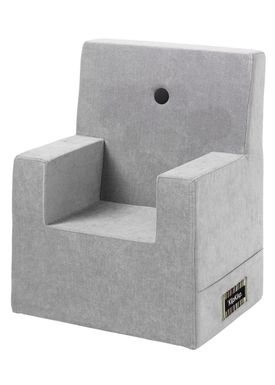 By KlipKlap - Chair - KK Kids Chair - Velvet argent grey 709 w dark grey buttons