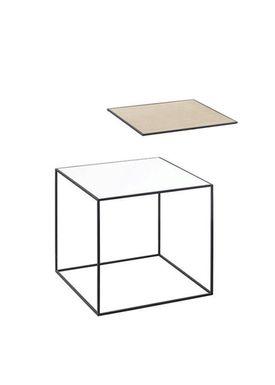 By Lassen - Table - Twin 35 Table - White/Oak with Black Base