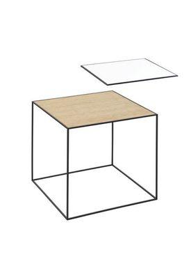 By Lassen - Table - Twin 42 - White/Oak With Black Base