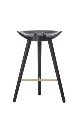 By Lassen - Stol - ML 42 Bar Stool - Low - Black Stained Beech/Brass