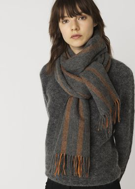 By Malene Birger - Scarf - Stripette - Light Grey/Apricot