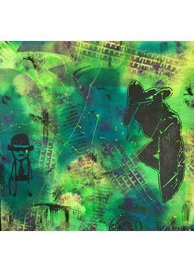 Falentin Art - Painting - Jumping wawes - Green