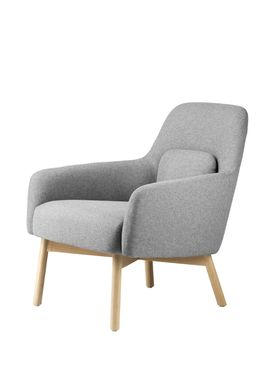 FDB Møbler / Furniture - Lounge Chair - L33 Gesja by Foersom & Hiort-Lorenzen - Oak / Textile - Natural / Light grey