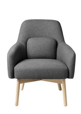 FDB Møbler / Furniture - Lænestol - L33 Gesja af Foersom & Hiort-Lorenzen - Eg / Tekstil - Natur / Grå