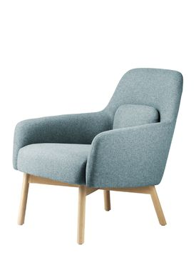 FDB Møbler / Furniture - Fåtölj - L33 Gesja by Foersom & Hiort-Lorenzen - Oak / Textile - Natural / Petroleum blue