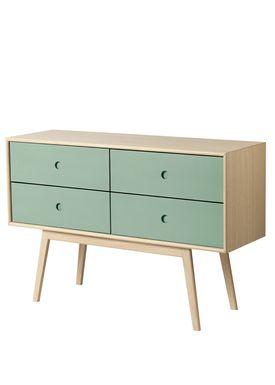 FDB Møbler / Furniture - Sideboard - F22 by Foersom & Hiort-Lorenzen - Nature/Green