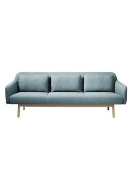 FDB Møbler / Furniture - Sofa - L34 Gesja af Foersom & Hiort-Lorenzen - Eg / Tekstil - Natur / Petrolblå