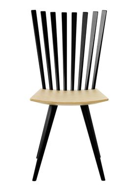 FDB Møbler / Furniture - Chair - J152 Mikado chair by Foersom & Hiort-Lorenzen - Beech / Legs and back in black / Seat in natural