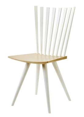 FDB Møbler / Furniture - Chair - J152 Mikado chair by Foersom & Hiort-Lorenzen - Beech / Legs and back in white / Seat in natural