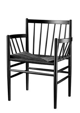 FDB Møbler / Furniture - Chair - J81 by Jørgen Bækmark - Black Beech/Black Wicker