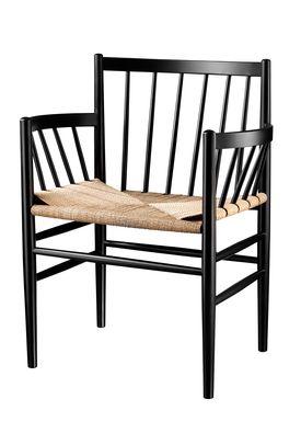 FDB Møbler / Furniture - Chair - J81 by Jørgen Bækmark - Black Beech/Nature Wicker