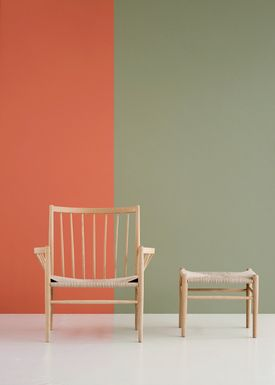 FDB Møbler / Furniture - Chair - J82 by Jørgen Bækmark - Black Beech/Nature Wicker