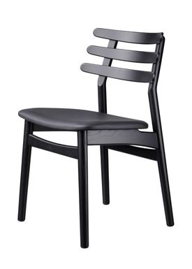 FDB Møbler / Furniture - Chair - J48 by Poul M. Volther - Oak / Black leather / Black lacquered