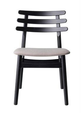 FDB Møbler / Furniture - Chair - J48 by Poul M. Volther - Oak / Black lacquered / Beige melange