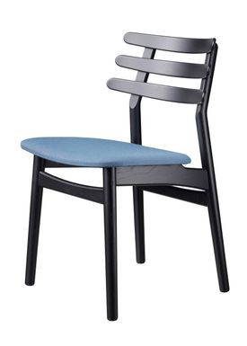 FDB Møbler / Furniture - Chair - J48 by Poul M. Volther - Oak / Black lacquered / Greyblue
