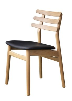 FDB Møbler / Furniture - Chair - J48 by Poul M. Volther - Oak / Black leather