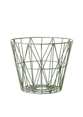 Ferm Living - Basket - Wire Basket - Medium - Dusty Green