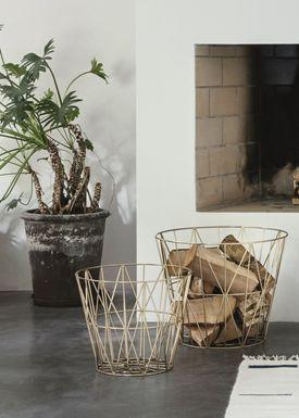 Ferm Living - Basket - Wire Basket - Small - Brass