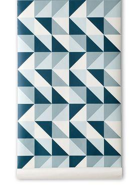 Ferm Living - Tapet - Remix Wallpaper - Blue/White