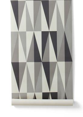 Ferm Living - Tapet - Spear Wallpaper - Grey/White/Dark Grey