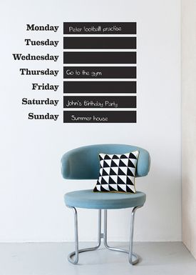 Ferm Living - Wallstickers - This Week Wallsticker - Black