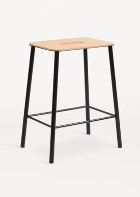 FRAMA - Chair - Adam Stool - Natural Leather / Matt black / H50