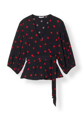 Ganni - Bluse - Barra Crepe Blouse - Black/Red Dot