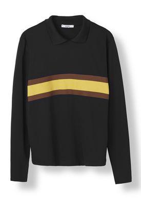 Ganni - Blouse - Dubois Polo Pullover - Black w. Stripe