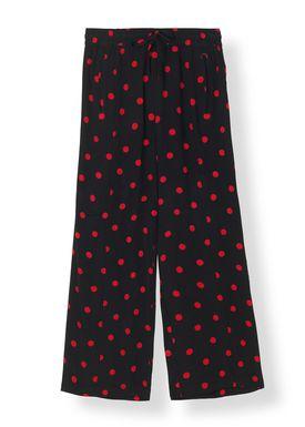 Ganni - Pants - Barra Crepe Pants - Black/Red Dot