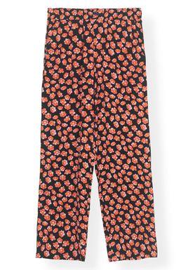Ganni - Pants - Printed Crepe Pants F2901 - Fiery Red