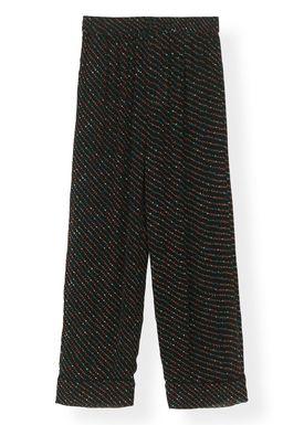 Ganni - Byxor - Printed Georgette Pants F2989 - Black