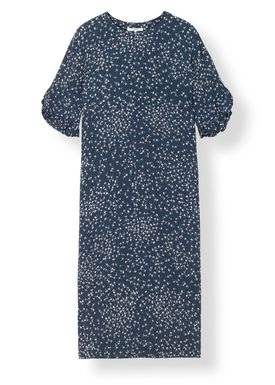 Ganni - Dress - Barra Crepe Dress - Total Eclipse