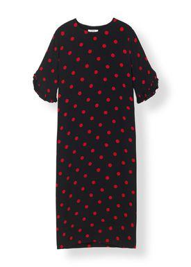 Ganni - Dress - Barra Crepe Dress - Black/Red Dot