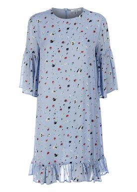 Ganni - Klänning - Dainty Georgette Dress - Serenity Blue